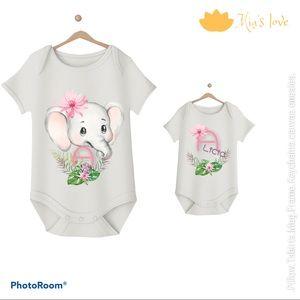 Elephant custom onesies  2 pcs 3-6 month